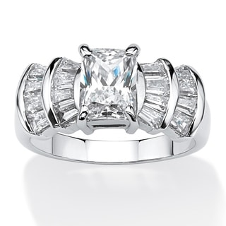 PalmBeach 3.10 TCW Emerald-Cut Cubic Zirconia Anniversary Ring in Platinum Over .925 Sterling Silver Classic CZ