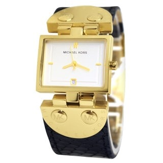Micheal Kors Women's White Square Dial Black Leather Goldtone Steel Watch