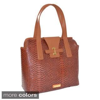 Adrienne Vittadini Matte Croco 13-inch Laptop Tote Bag