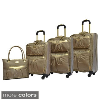 Adrienne Vittadini Leopard Trim 4-piece Expandable Spinner Luggage Set