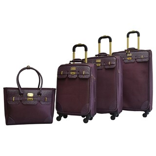 Adrienne Vittadini Faux Linen 4-piece Expandable Spinner Luggage Set
