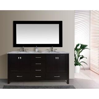Stufurhome Malibu 72-Inch Espresso Double Sink Bathroom Vanity with Mirror