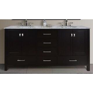 Stufurhome Malibu 72-Inch Espresso Double Sink Bathroom Vanity