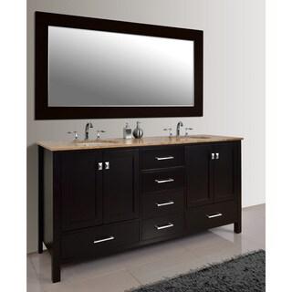 Stufurhome Malibu 72-Inch Espresso Double Sink Bathroom Vanity Set With Mirror