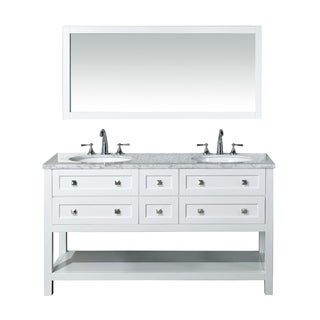 Stufurhome Marla 60-inch Double Sink Bathroom Vanity with Mirror