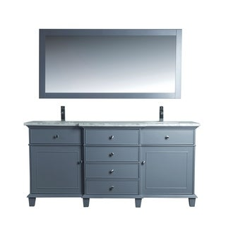 Stufurhome Cadence Grey 72-inch Double Sink Bathroom Vanity with Mirror
