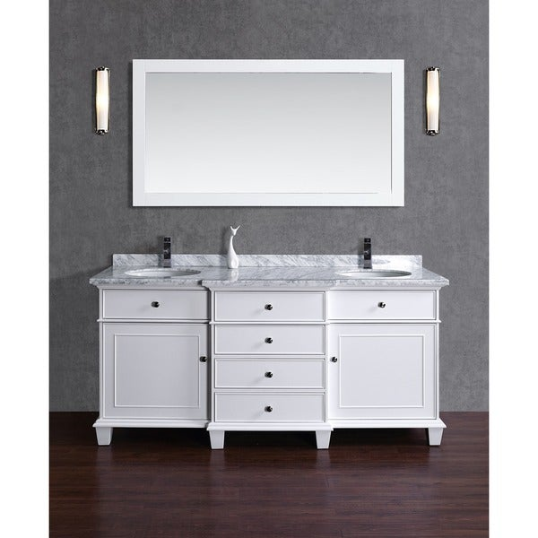 Stufurhome Cadence White 60 Inch Double Sink Bathroom Vanity With Mirror 17