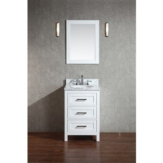 Stufurhome Noelle White 24-inch Single Sink Bathroom Vanity with Mirror