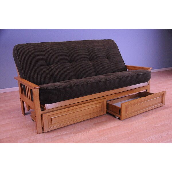 somette honey oak futon set with storage drawers