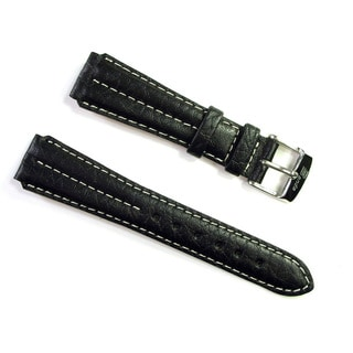 Banda Wyoming Buffalo Leather Watchband Chrono Sport Double Ridge Design- Real Italian Calf Leather- Black Color