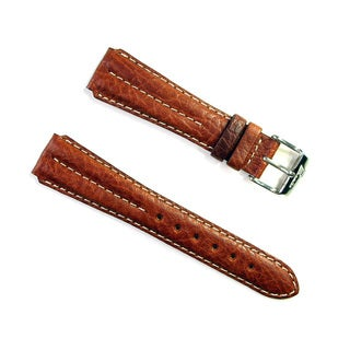 Banda Wyoming Buffalo Leather Watchband Chrono Sport Double Ridge Design- Real Italian Calf Leather- Honey Color