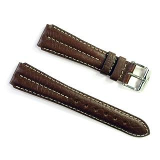 Banda Wyoming Buffalo Leather Watchband Chrono Sport Double Ridge Design- Real Italian Calf Leather- Brown Color