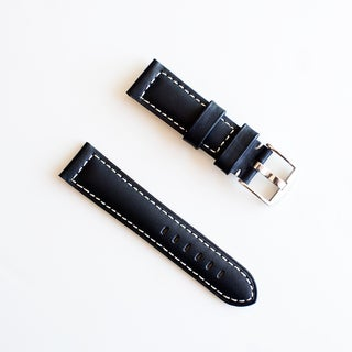 Banda Waterproof Leather Watch Band with Pan Style Buckle Design-Genuine Leather-Black with White or Black Stitching