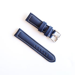 Banda Waterproof Leather Watch Band with Pan Style Buckle Design-Genuine Leather-Blue with White or Blue Stitching