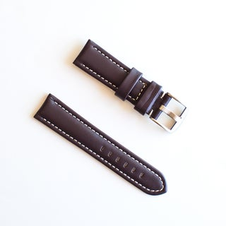 Banda Waterproof Leather Watch Band with Pan Style Buckle Design-Genuine Leather-Brown with White or Brown Stitching