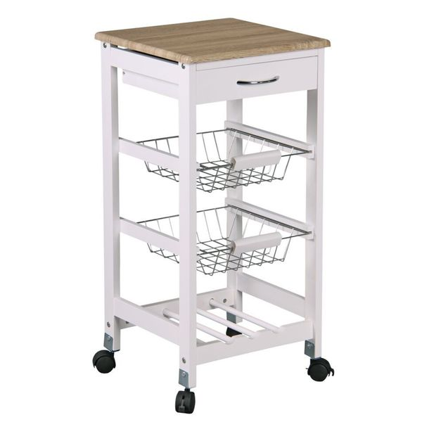 Home Basics Kitchen Cart With 2 Storage Baskets And Drawer Overstock Shopping Big Discounts