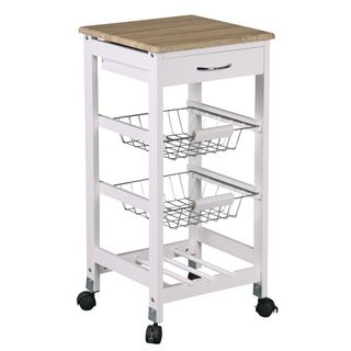 Home Basics Kitchen Cart with 2 Storage Baskets and Drawer