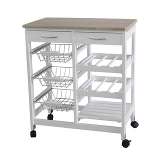 Home Basics 3-basket Kitchen Cart with 2 Drawers and Wine Rack with Shelf