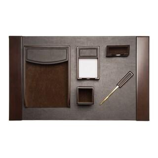 Brown Leather 6-piece Desk Set