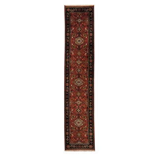 Herat Oriental Indo Hand-knotted Mahal Red/ Black Wool Rug (2'5 x 11'9)
