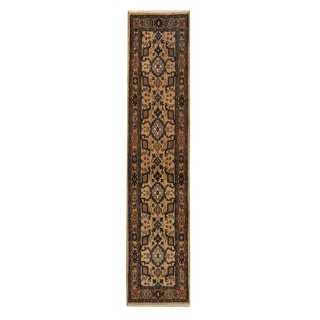 Herat Oriental Indo Hand-knotted Mahal Beige/ Gold Wool Rug (2'7 x 12')