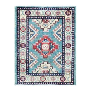 Herat Oriental Afghan Hand-knotted Tribal Vegetable Dye Kazak Light Blue/ Ivory Wool Rug (2'1 x 2'8)