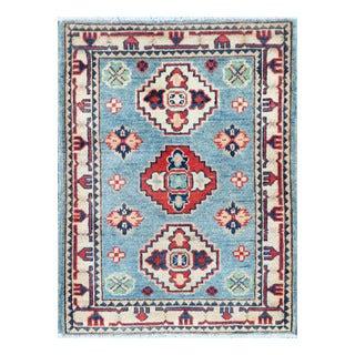 Herat Oriental Afghan Hand-knotted Tribal Vegetable Dye Kazak Light Blue/ Ivory Wool Rug (2'1 x 2'10)