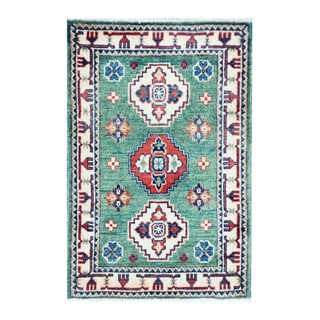 Herat Oriental Afghan Hand-knotted Tribal Vegetable Dye Kazak Turquoise/ Ivory Wool Rug (2' x 3'1)