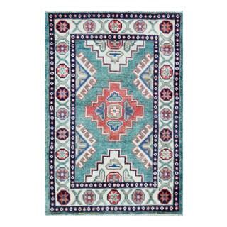 Herat Oriental Afghan Hand-knotted Tribal Vegetable Dye Kazak Teal/ Ivory Wool Rug (1'11 x 2'11)