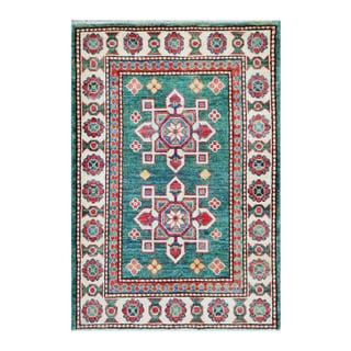 Herat Oriental Afghan Hand-knotted Tribal Vegetable Dye Kazak Teal/ Ivory Wool Rug (2' x 3')