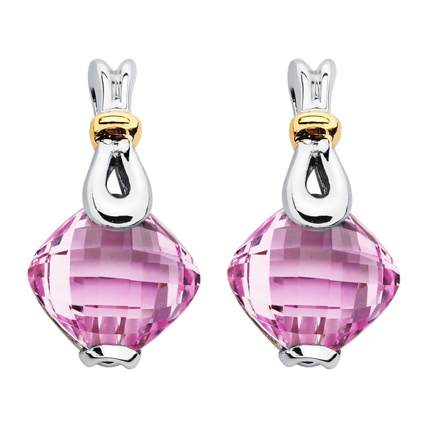 Boston Bay Diamonds 18k Gold and Sterling Silver 9x9mm Cushion-cut Pink Sapphire Earrings