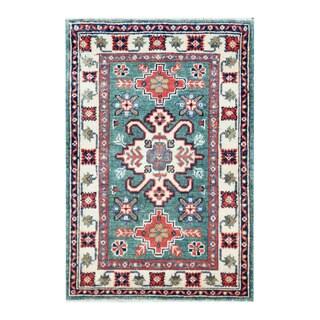 Herat Oriental Afghan Hand-knotted Tribal Vegetable Dye Kazak Teal/ Ivory Wool Rug (2' x 2'11)