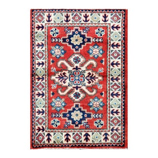 Herat Oriental Afghan Hand-knotted Tribal Vegetable Dye Kazak Red/ Ivory Wool Rug (2'1 x 3')