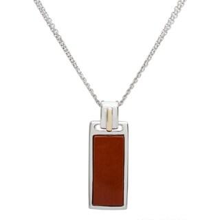 18k Gold and Sterling Silver 8x19mm Flat Baguette-cut Red Jasper Pendant