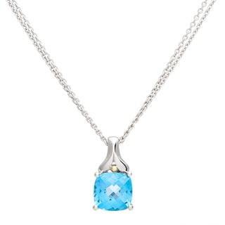 Boston Bay Diamonds 18k Gold and Sterling Silver 8x8mm Cushion-cut Blue Topaz Pendant