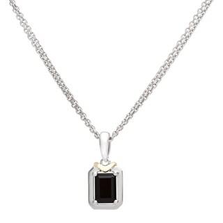 Boston Bay Diamonds 18k Gold and Sterling Silver 5x7mm Emerald-cut Black Onyx Pendant