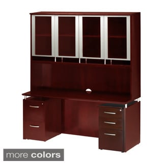 MaylineNapoli Credenza and Glass Door Hutch with Dual Pedestals