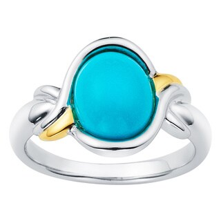 18k Gold and Sterling Silver 8x10mm Oval-cut Turquoise Ring