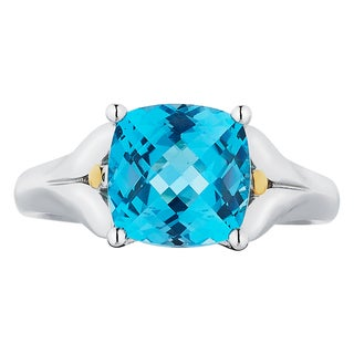 18k Gold and Sterling Silver 8x8mm Cushion-cut Blue Topaz Ring