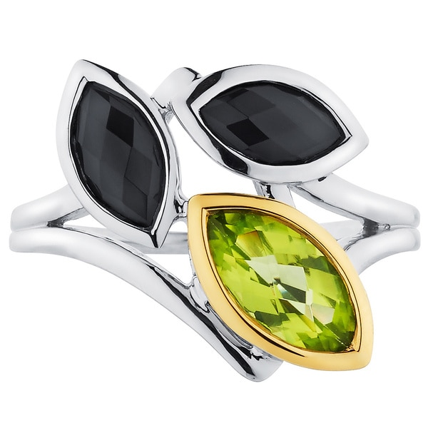 Boston Bay Diamonds  18k Gold and Sterling Silver Peridot and Black Onyx Ring 15760302