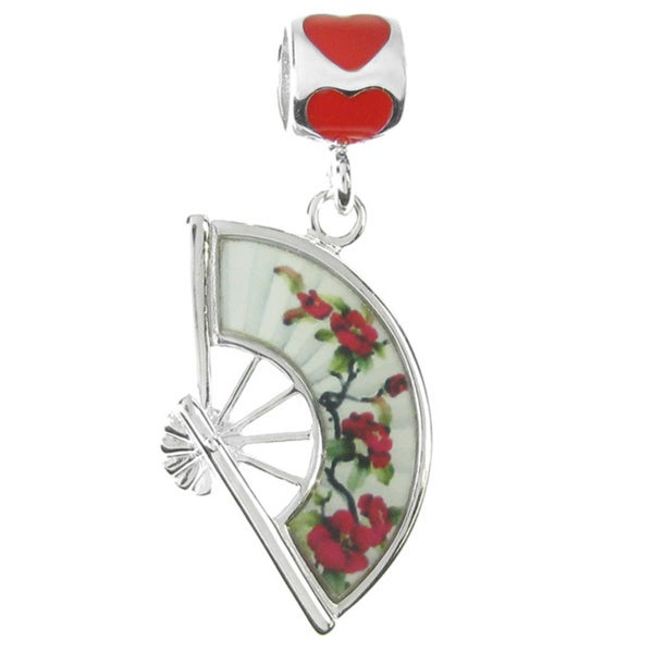 Queenberry Rhodium Over Sterling Silver Chinese Style Flower Fan Love Red Enamel Dangle European Bead Charm