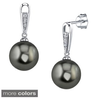 Radiance Pearl 14k Gold Tahitian South Sea Pearl Diamond Accent Earrings