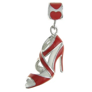 Queenberry Rhodium Over Sterling Silver High Heel Stilettos Shoe Red Enamel Dangle European Bead Charm