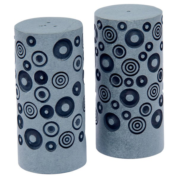 Palewa Stone Black Dots Engraved Salt & Pepper Shaker (India)
