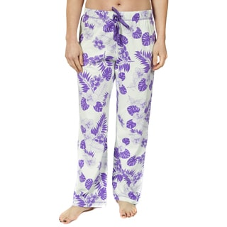 Leisureland Women's Cotton Jersey Pajama Pants Vintage Botanical Floral Aqua