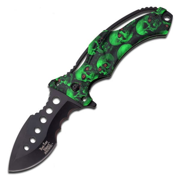 Dark Side Black 5-inch Folder Skull Handle Knife