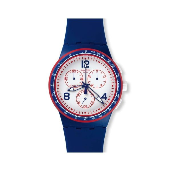 Swatch Unisex SUSZ100 'Original' Chronograph Blue Silicone Watch