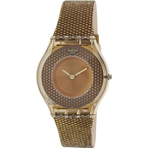 Swatch Women's SFC105 'Skin' Brown Leather Watch