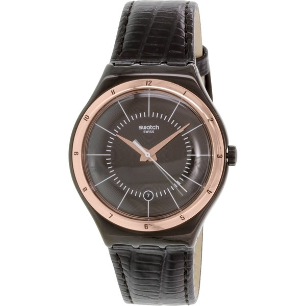 Swatch Men's YWB403 'Irony' Black Leather Watch