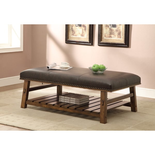Elements Rubbed Medium Brown Wood Ottoman ~ Treasure trove accents foster mid brown cocktail ottoman